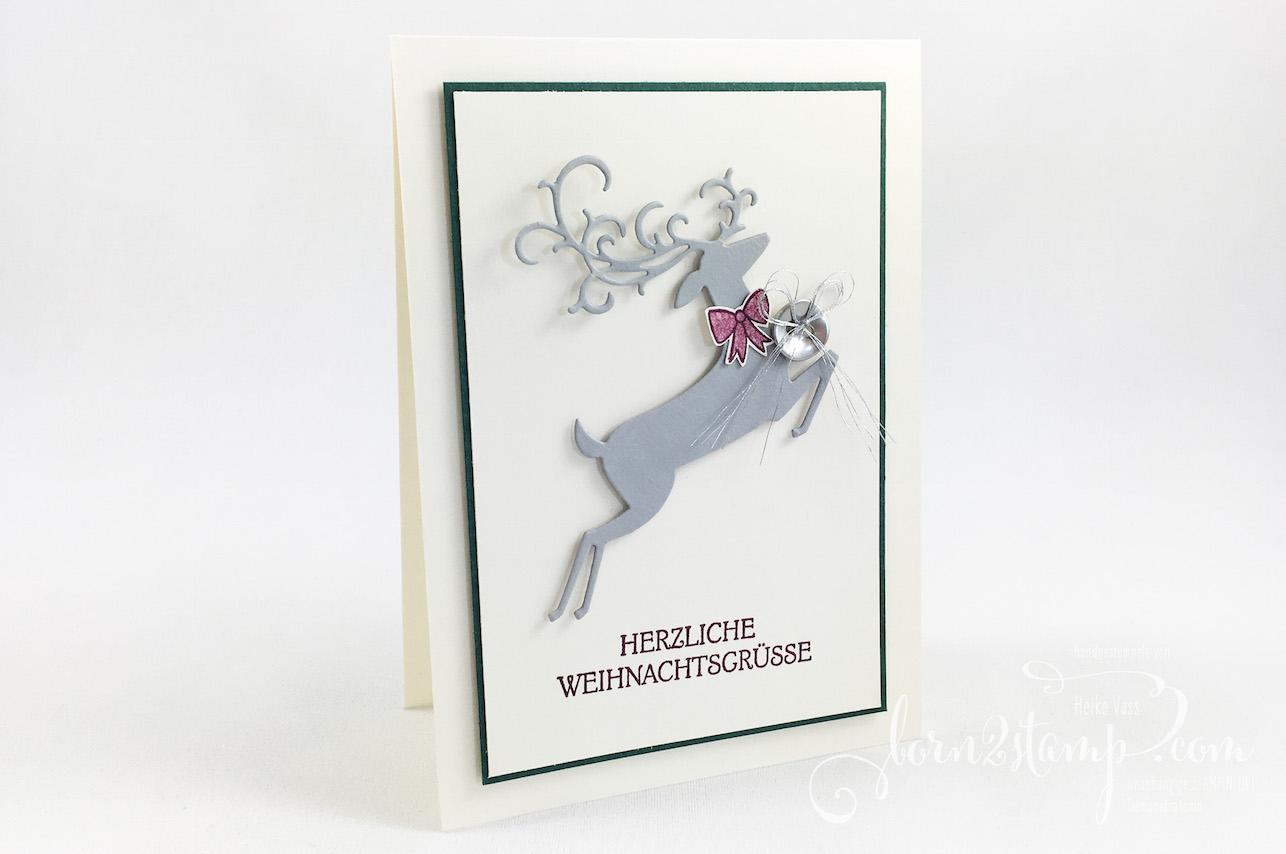 born2stamp STAMPIN' UP! INKSPIRE_me – Weihnachtskarte – Weihnachtshirsch – Big Shot Weihnachtswild – Pick a pennant