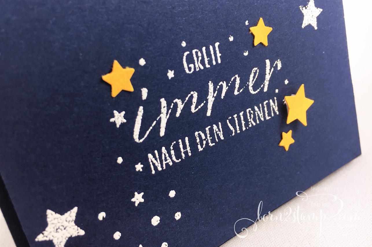 born2stamp STAMPIN' UP! INKSPIRE_me – Karte zur Geburt – Sternstunden – Stanze Mond und Sterne