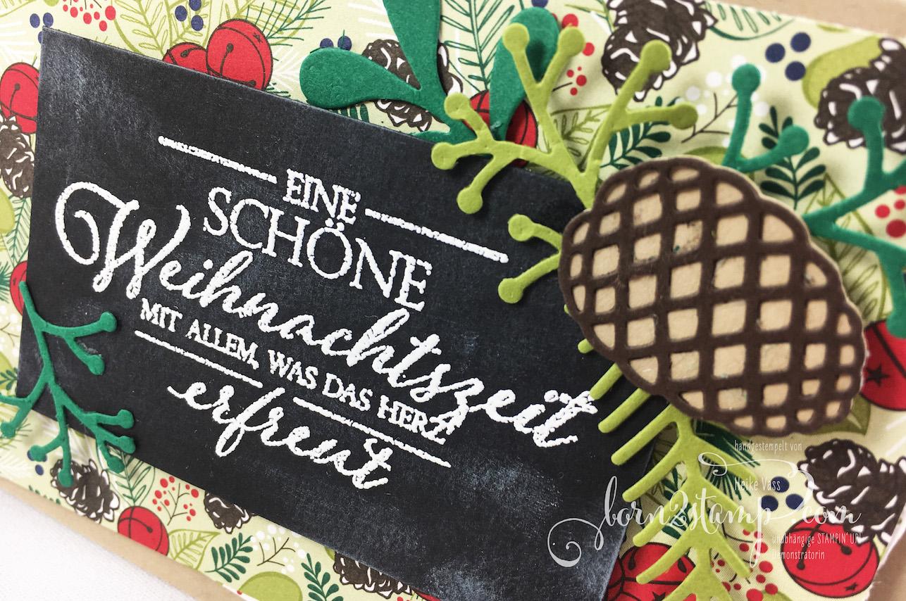 born2stamp STAMPIN' UP! INKSPIRE_me – Weihnachtskarte – DSP Weihnachtsfreuden – Weihnachtliche Vielfalt – Big Shot Tannen und Zapfen