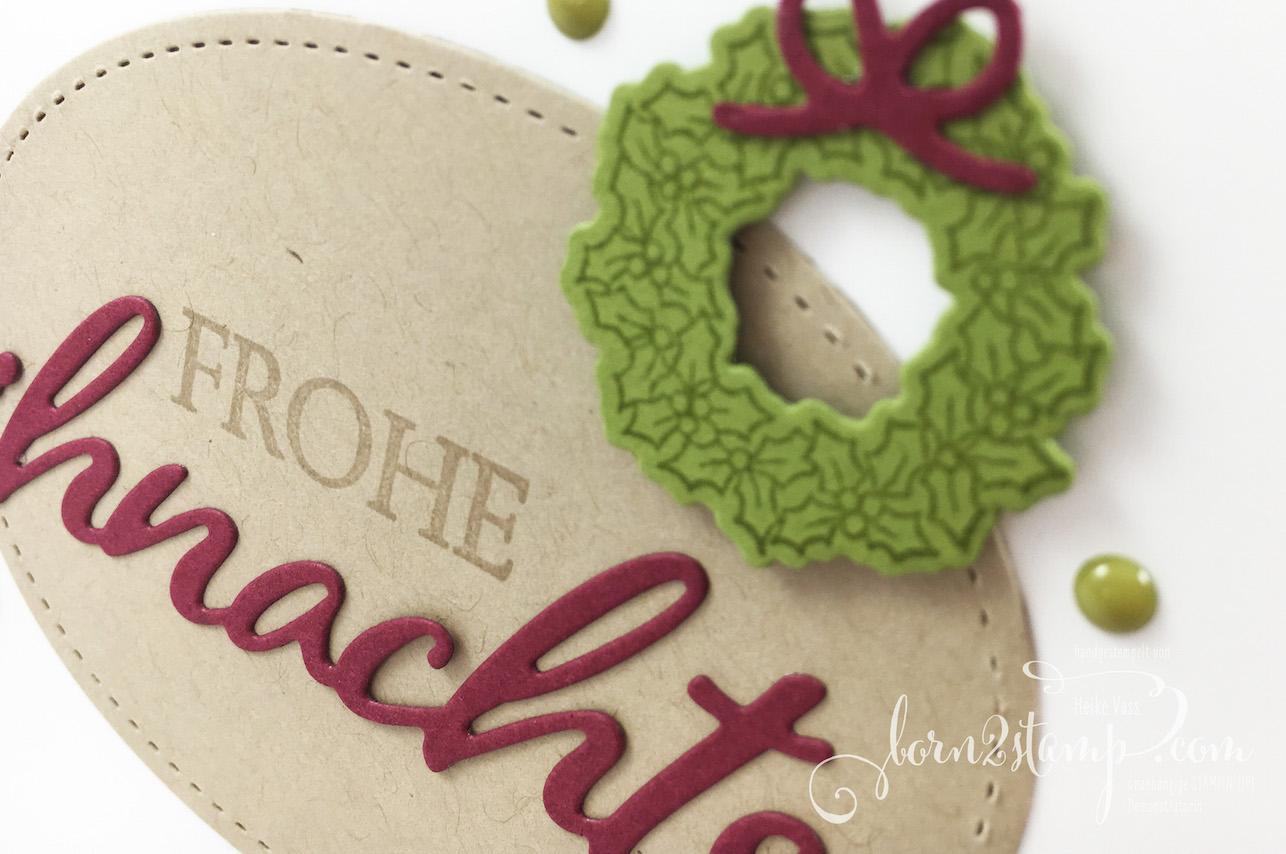 born2stamp STAMPIN' UP! INKSPIRE_me Weihnachtskarte – Weihnachtliche Vielfalt – Wie zu Hause – Big Shot Stickmuster