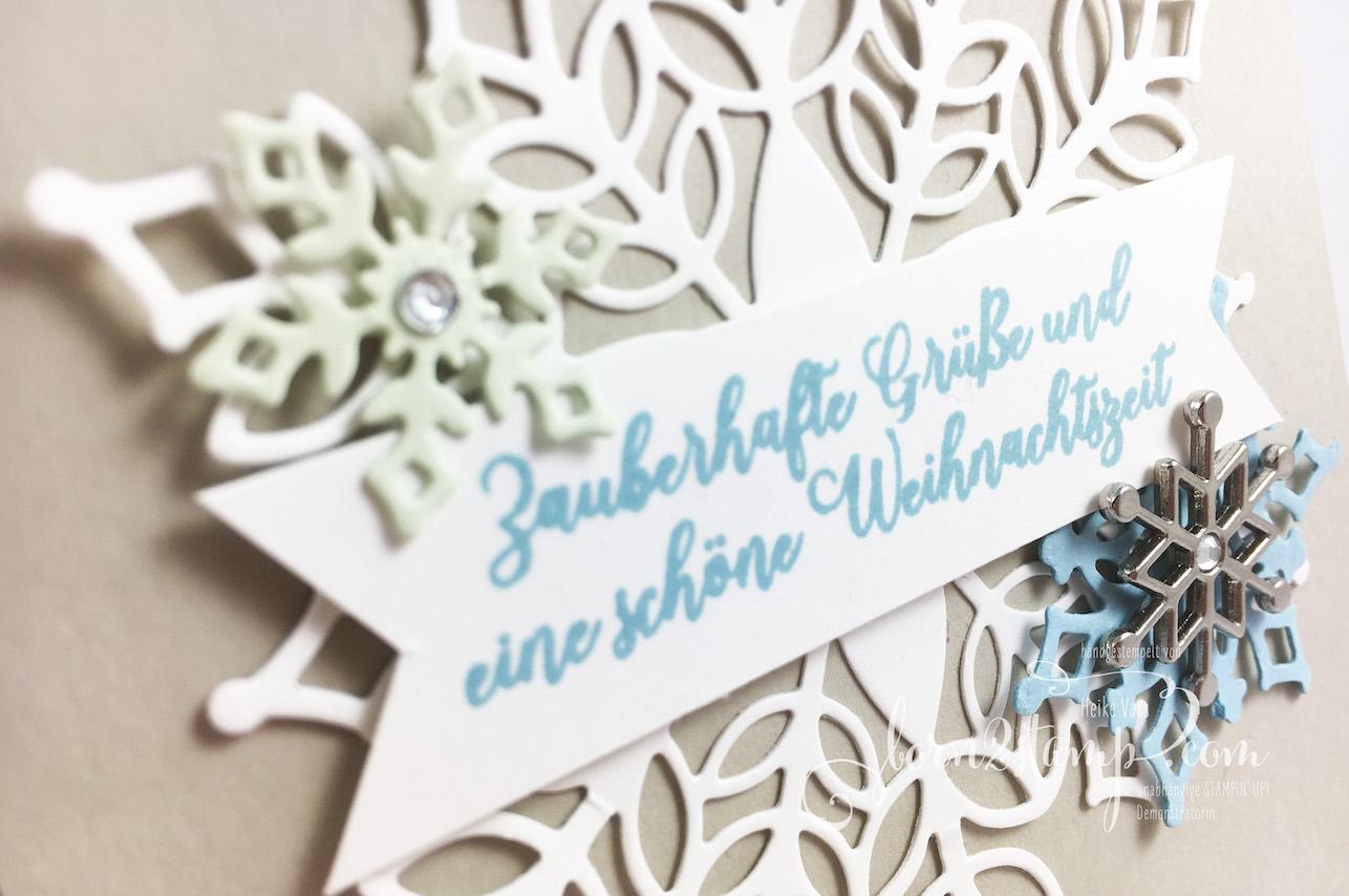 born2stamp INKSPIRE_me STAMPIN' UP! Weihnachtskarte – Wintermaerchen – Big Shot Schneegestoeber – Accessoires Schneeflocke