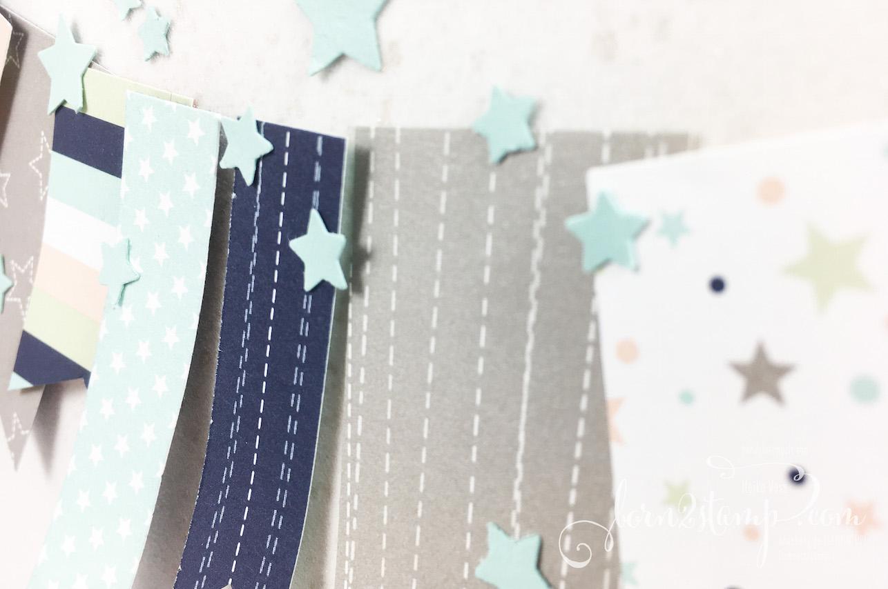 born2stamp STAMPIN' UP! INKSPIRE_me – Karte zur Geburt – DSP Sternenhimmel – Klitzekleine Gruesse – Glanzfarbe – Mond und Sterne Elementstanze