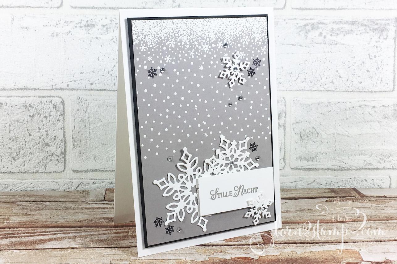 born2stamp STAMPIN' UP! Stempelnd durchs Jahr – Weihnachtskarte – Wintermaerchen – Thinlits Schneegestoeber – Accessoires Schneeflocke