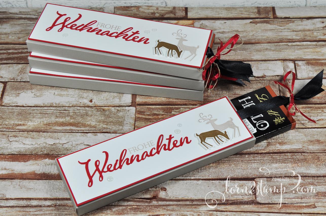 born2stamp STAMPIN' UP! December INKSPIRATION – Ziehverpackung – Weihnachtliche Vielfalt – Weihnachtshirsch – Satinband