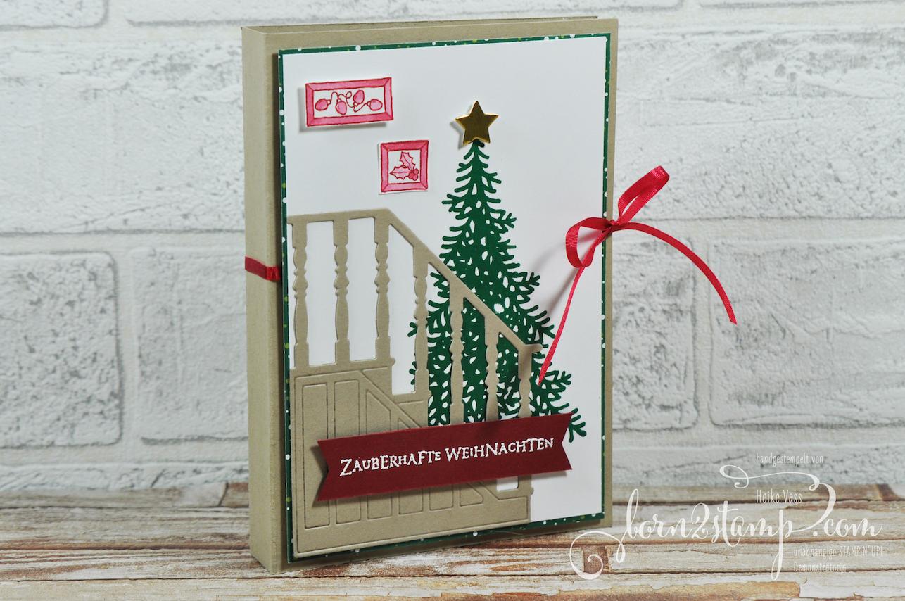 born2stamp STAMPIN' UP! Stempelnd durchs Jahr Warten auf den Weihnachtsmann – Weihnachtskarte – DSP Weihnachtsfreuden – Flockenfantasie – Vorfreude – Big Shot Weihnachtliche Treppe