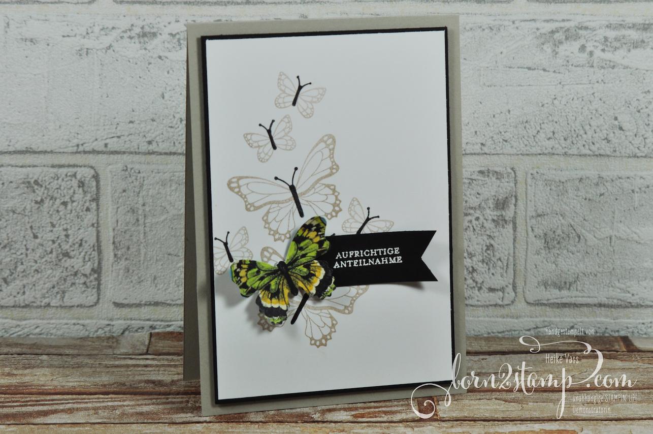 born2stamp STAMPIN' UP! Trauerkarte – Schmetterlingsglueck – DSP Schmetterlingsvielfalt – Klitzekleine Wuensche