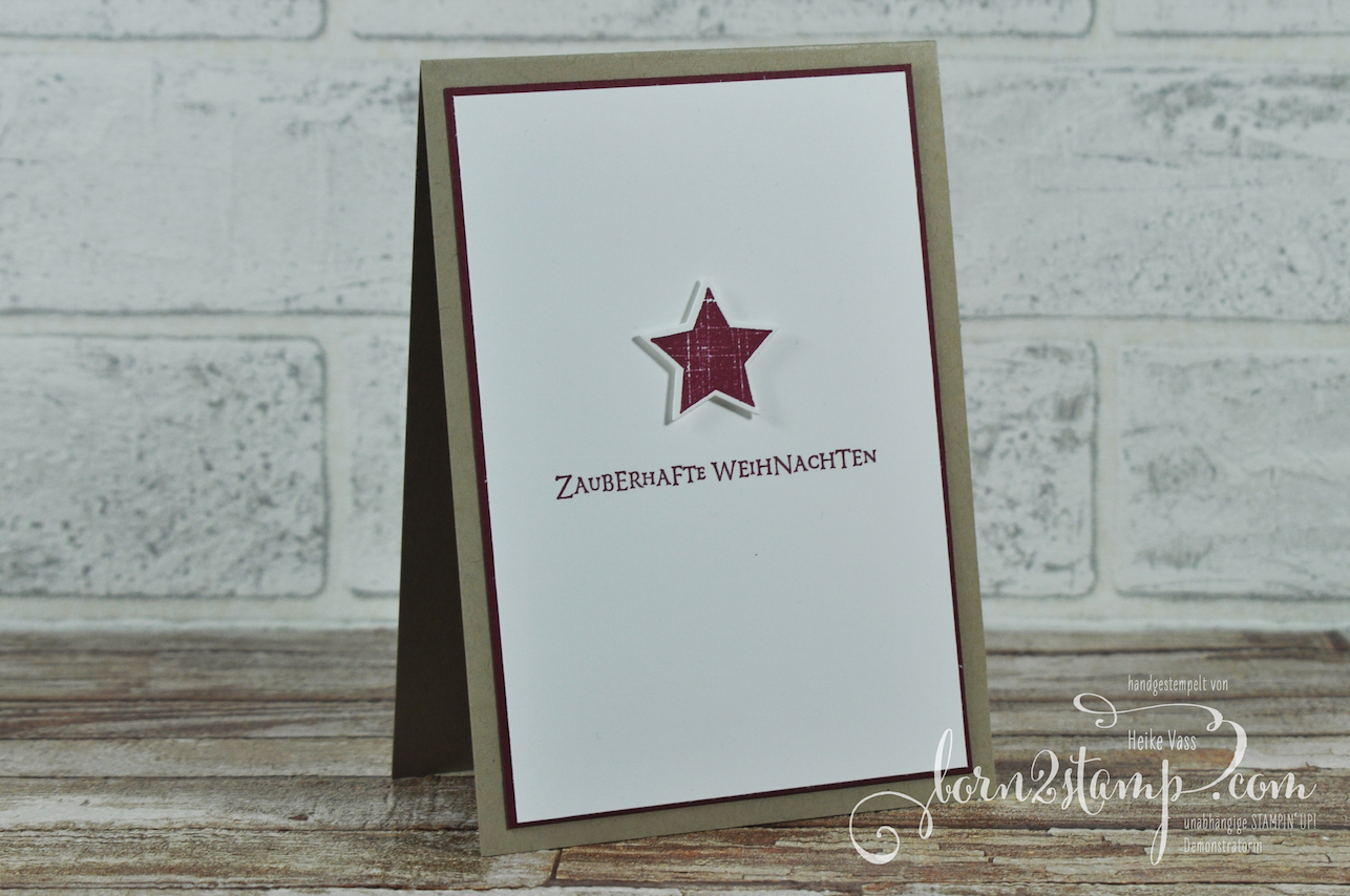 born2stamp STAMPIN' UP! Weihnachtskarte – Aus der Kreativkiste – Big Shot Holzkiste – Flockenfantasie