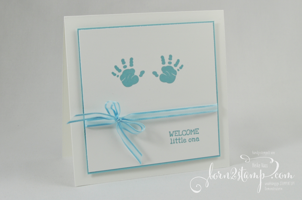 born2stamp INKSPIRE_me STAMPIN' UP! Babykarte – First steps – SAB – Sale-a-bration – Organdy-Band im Kombipack