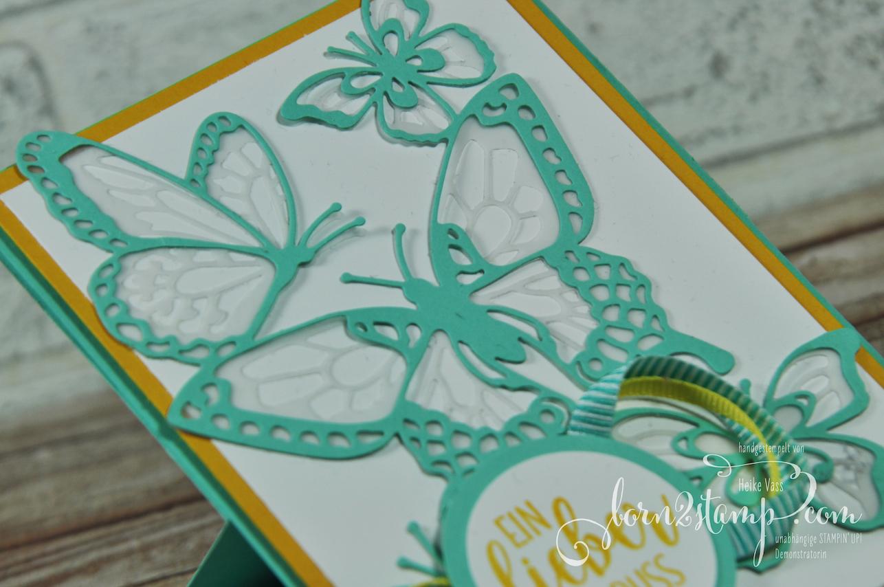 born2stamp STAMPIN' UP! Simple Stamping Techniques – Easel card – Schoene Schmetterlinge – Landleben