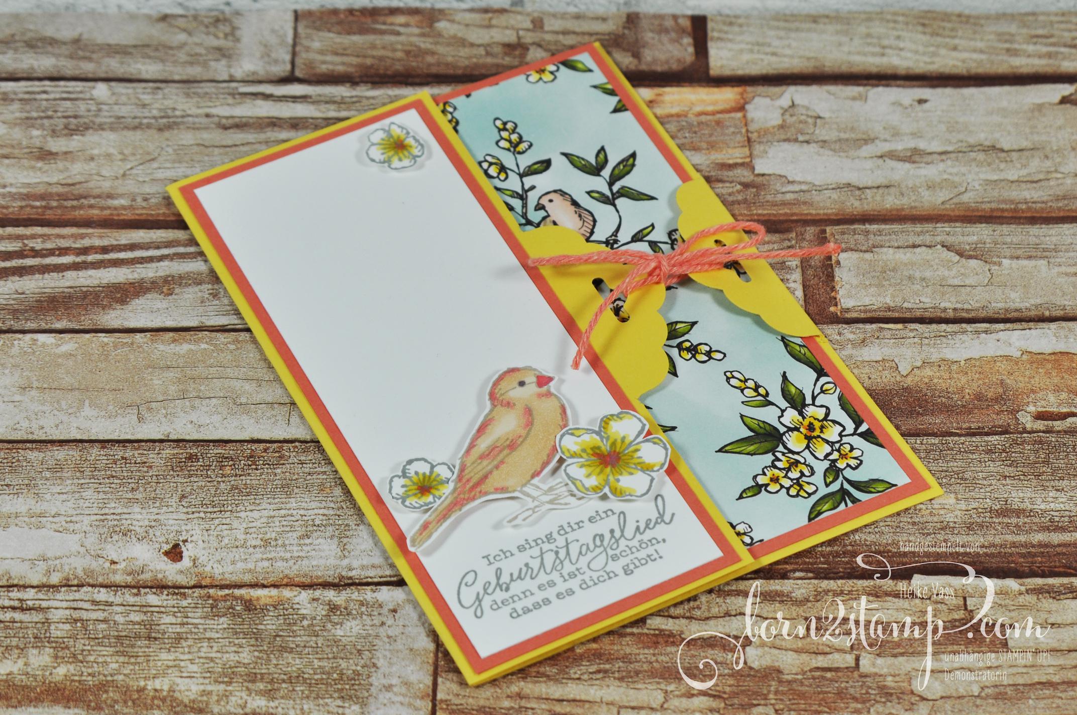 born2stamp STAMPIN' UP! Stempelnd durchs Jahr – Geburtstagskarte – Frei wie ein Vogel – Stampin' Blends – DSP Vogelgarten 1
