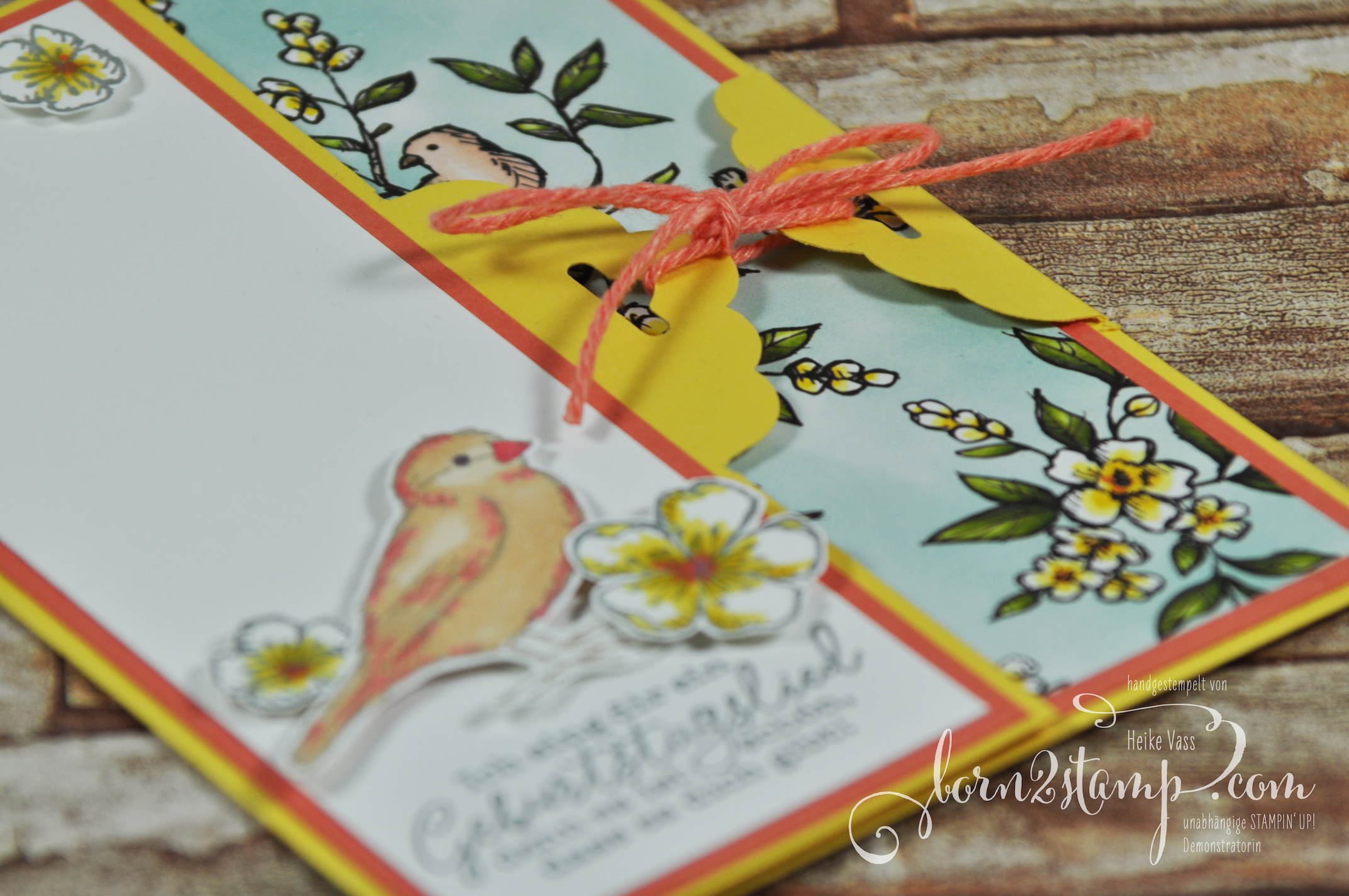 born2stamp STAMPIN' UP! Stempelnd durchs Jahr – Geburtstagskarte – Frei wie ein Vogel – Stampin' Blends – DSP Vogelgarten 3