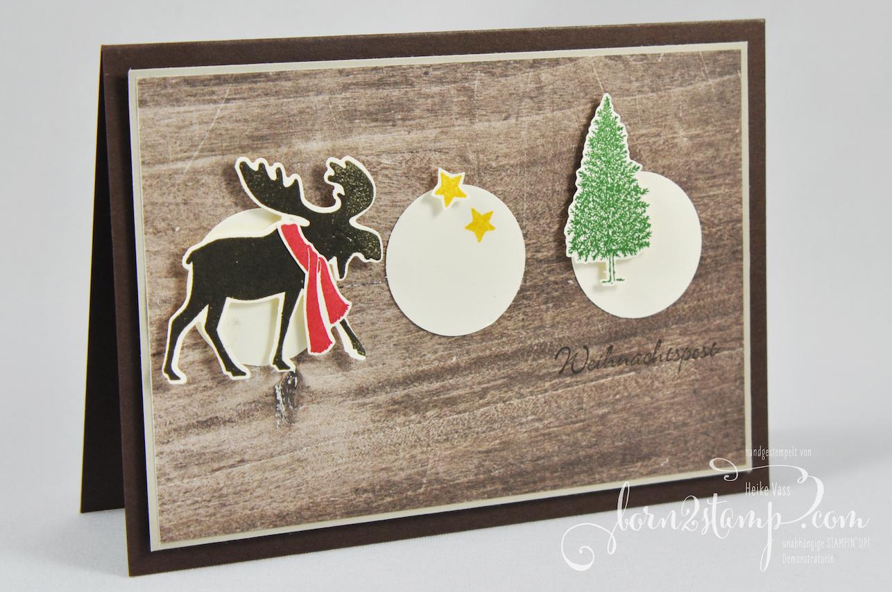 born2stamp STAMPIN' UP! INKSPIRE_me – Weihnachtskarte – Merry Moose – Stanze Elch