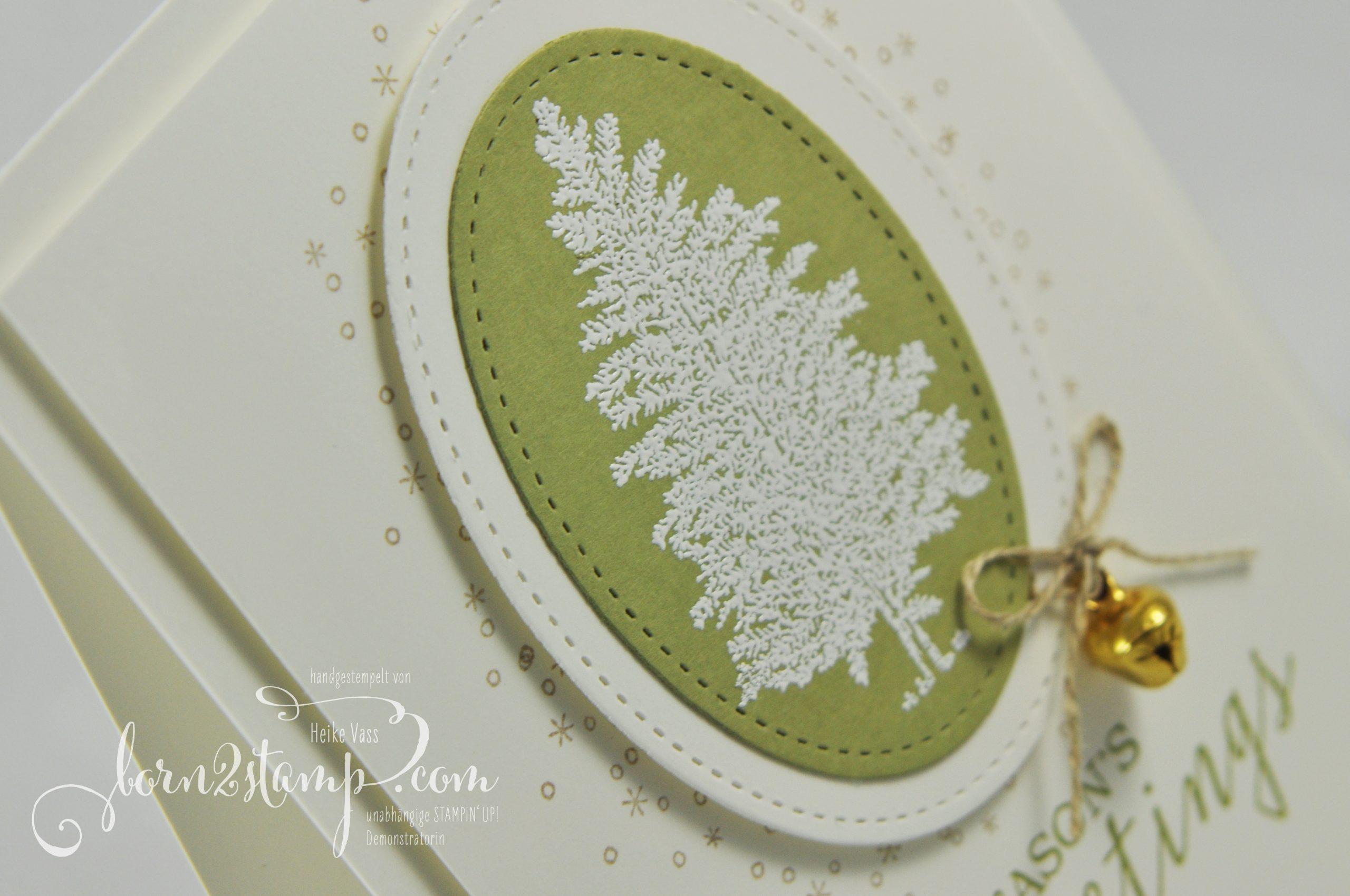 born2stamp STAMPIN' UP! INKSPIRE_me Weihnachtskarte – Still scenes – Merry Moose – Framelits Stickmuster