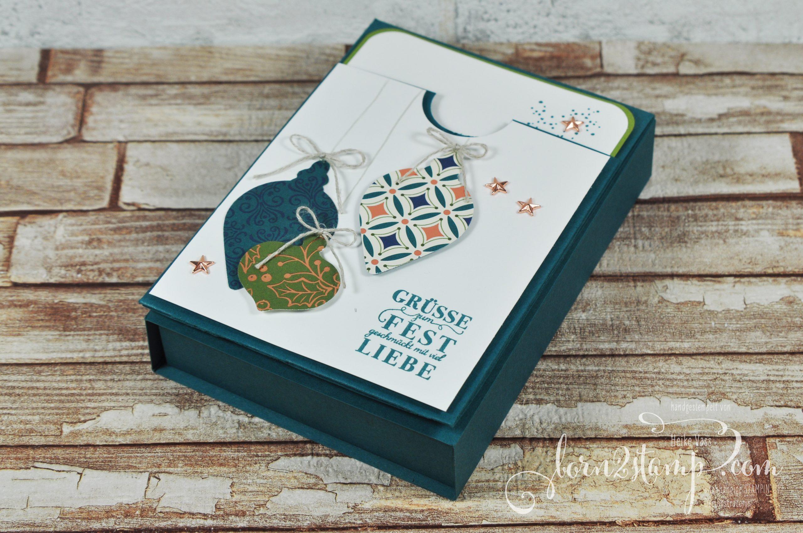born2stamp STAMPIN' UP! December INKSPIRATIONS Weihnachten Verpackung – Festtagsglanz – DSP Im schönsten Glanz