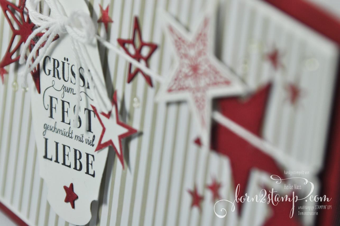 born2stamp STAMPIN' UP! INKSPIRE_me Weihnachtskarte – Sternenglanz – Stanzformen Bestickte Sterne – Wunsch-Etikett