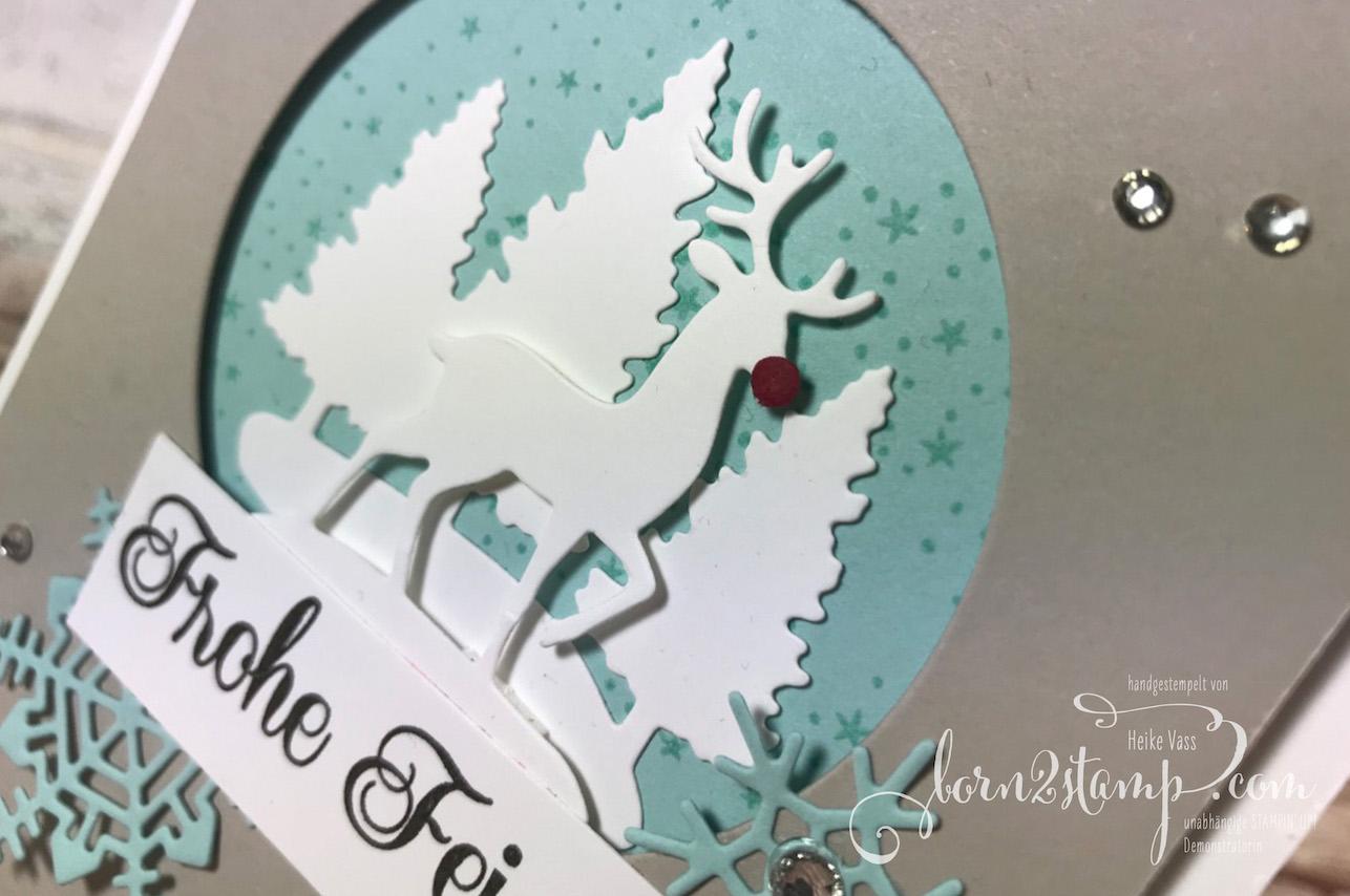 born2stamp STAMPIN' UP! Weihnachtskarte – Still Scenes – Sternenglanz – Stanzform Schneekugel – Thinlits Aus jeder Jahreszeit