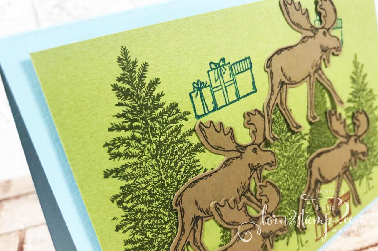 born2stamp Weihnachtskarten Merry Moose