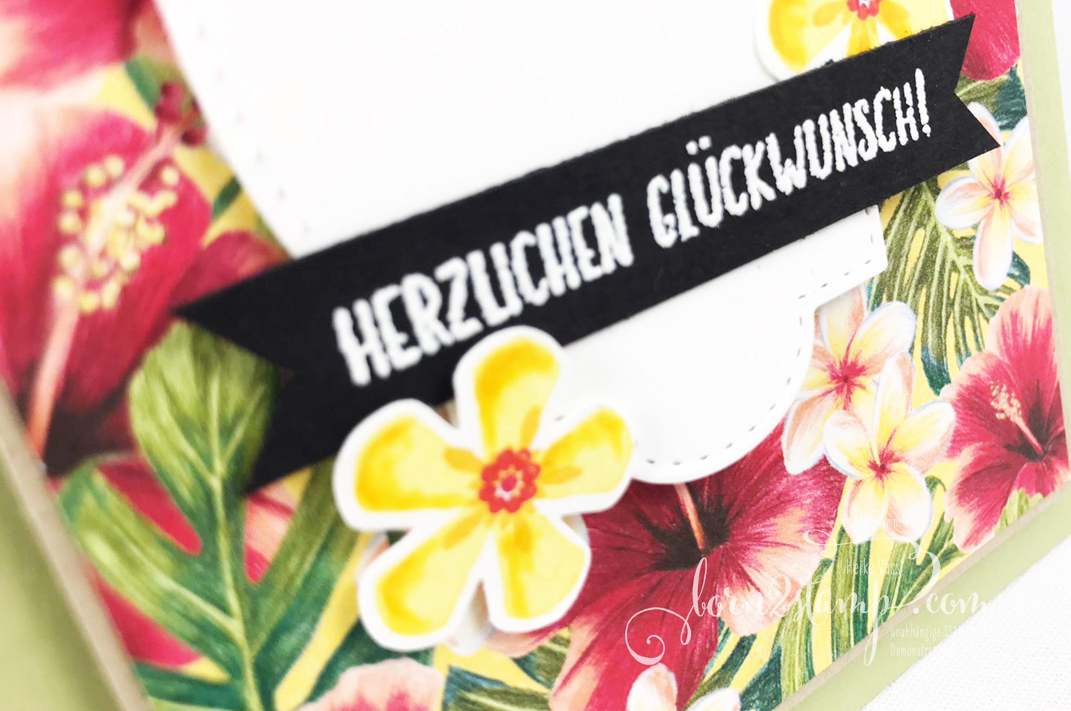 born2stamp INKSPIRE_me STAMPIN UP – Geburtstagskarte – SAB Blumige Ueberraschung – SAB Liebe Gedanken – SAB Stanze Kleine Blume