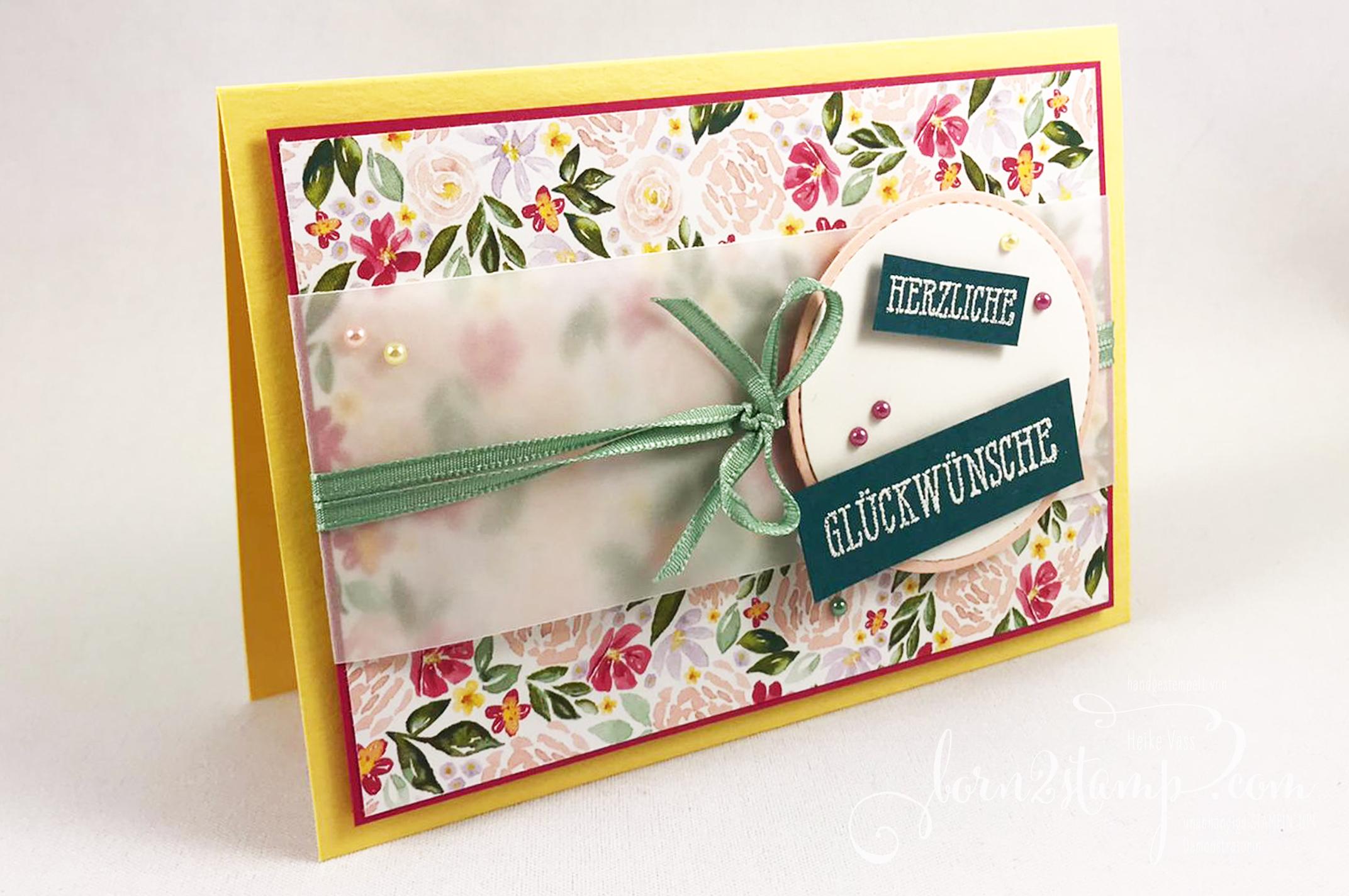 born2stamp INKSPIRE_me STAMPIN UP Geburtstagskarte – Gut gesagt – Feines Leinenband – Kreisstanze – Stanzformen Stickmuster