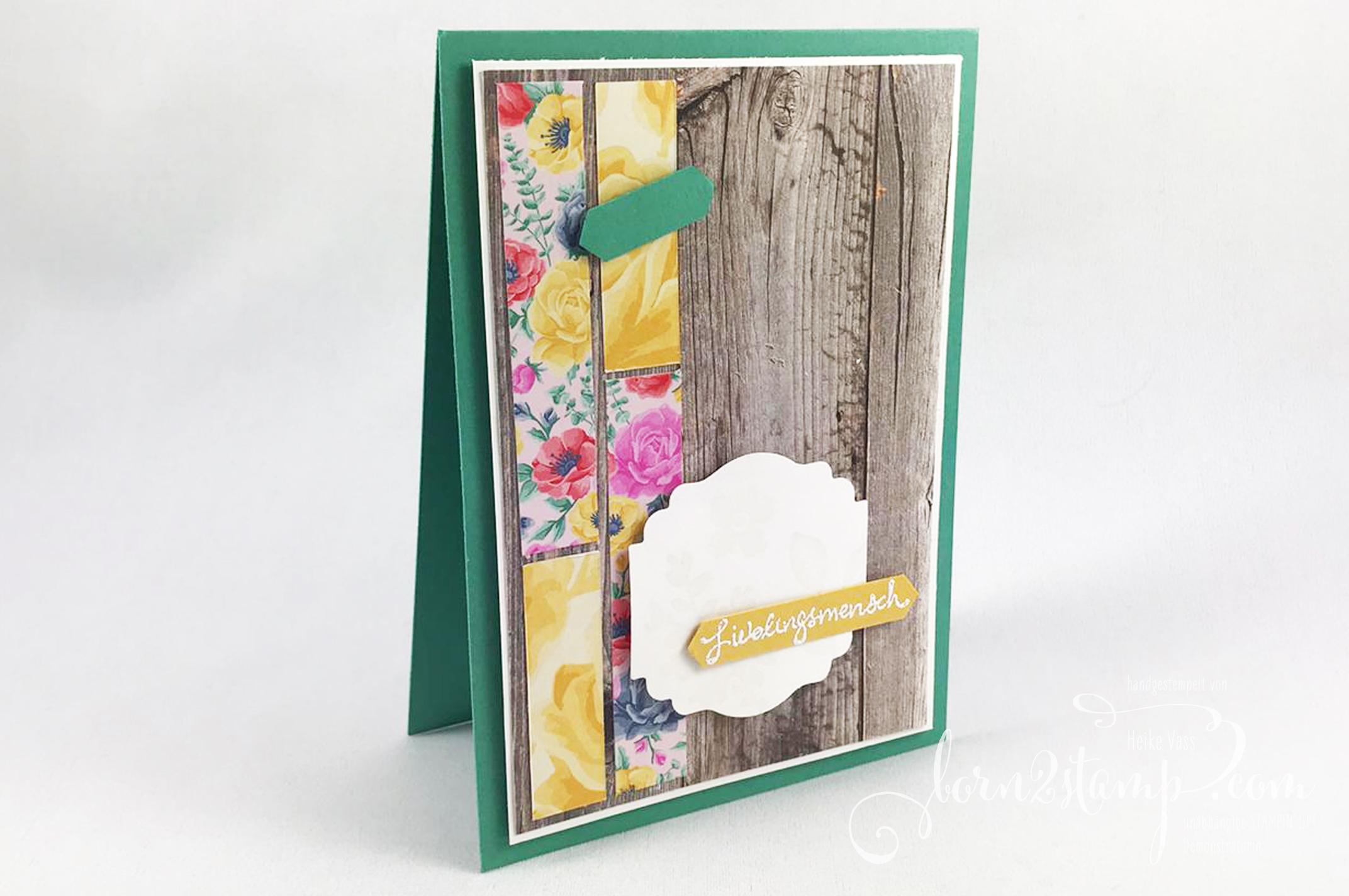 born2stamp Stampin' UP! INKSPIRE_me Karte – Zauberhafte Gruesse – DSP Blumen fuer jede Jahreszeit – DSP Ganz mein Geschmack – Entzueckendes Etikett – Klassisches Etikett