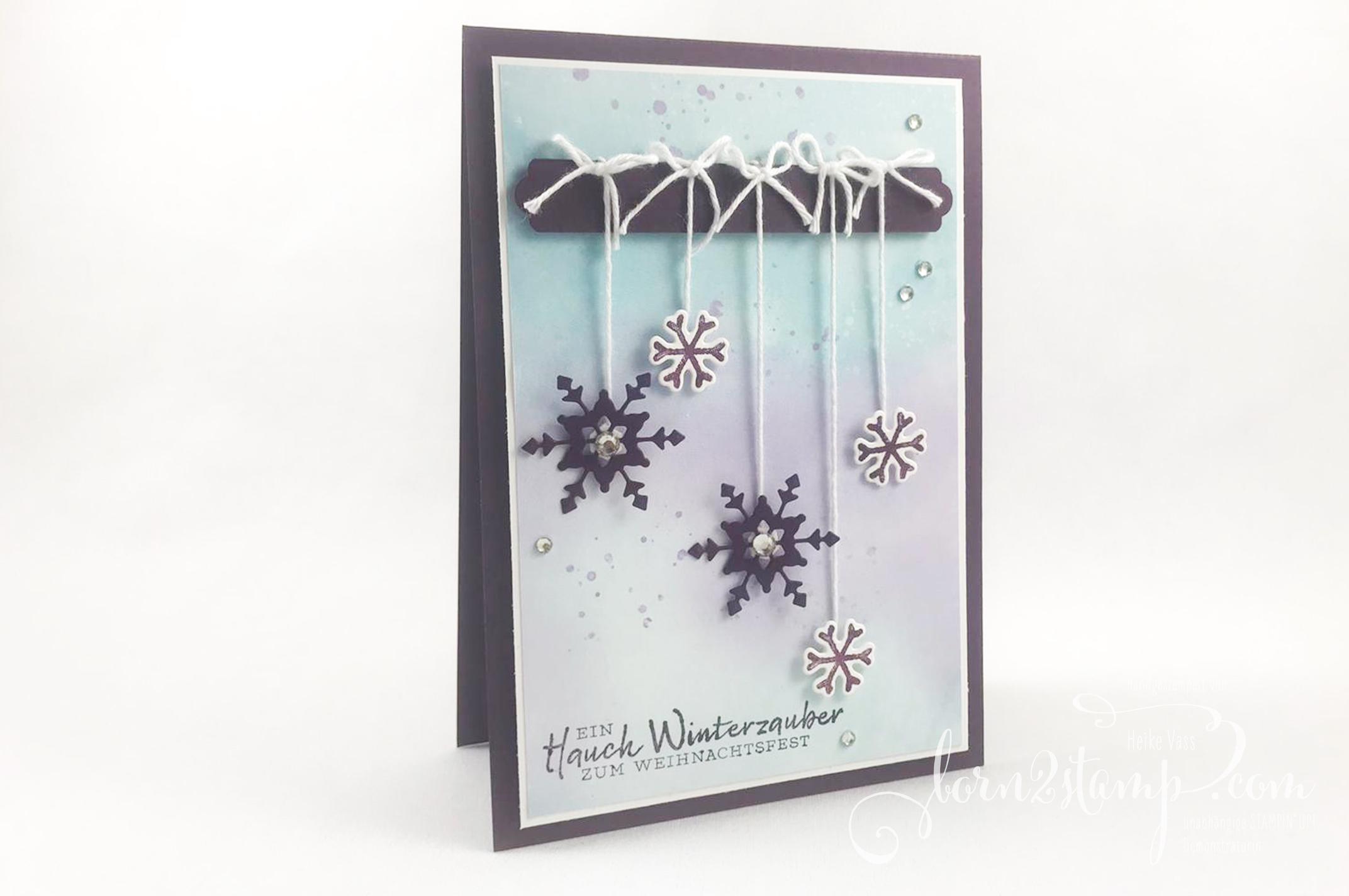 born2stamp STAMPIN UP INKSPIRE_me – Weihnachtskarte – Schneeflockenwuensche – Stanzform So viele Flocken – DSP Schneeflockentraum – Stanze Allerliebste Anhänger