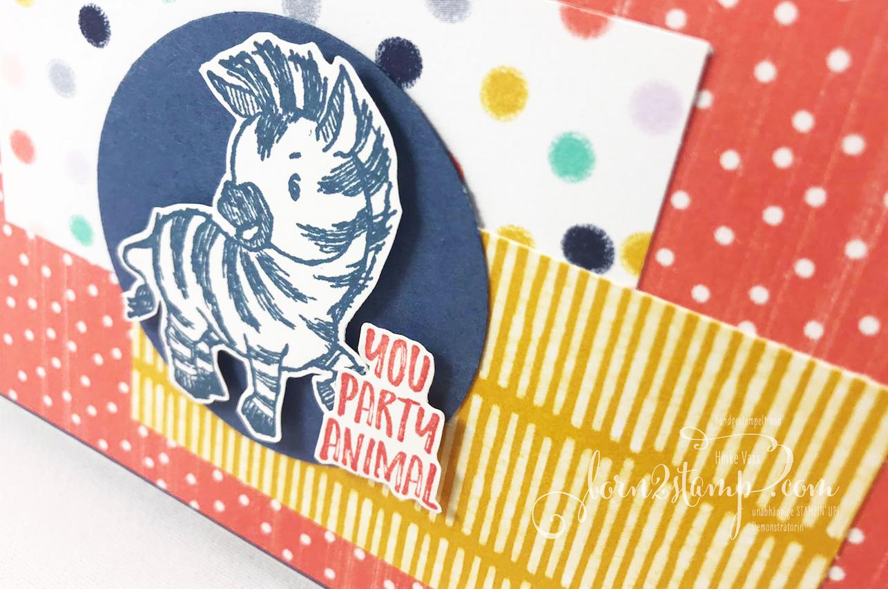 born2stamp STAMPIN UP Inkspire me – Geburtstagskarte – Zany Zebras – DSP Jede Menge Muster
