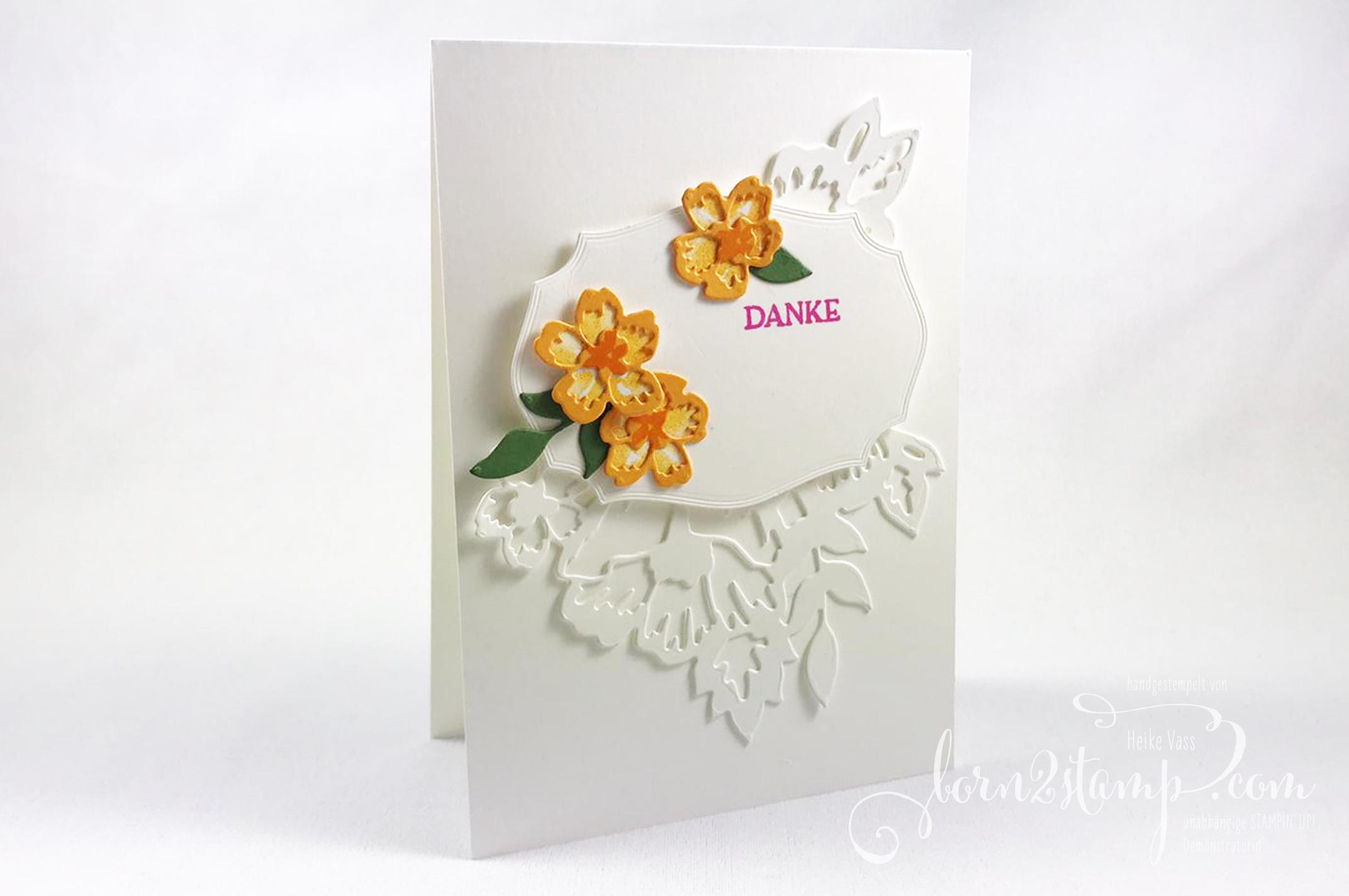 born2stamp INKSPIRE_me STAMPIN UP Dankeskarte – Blumengruss – Stanzformen Blumenzierde – Stanzformen Etiketten mit Stil