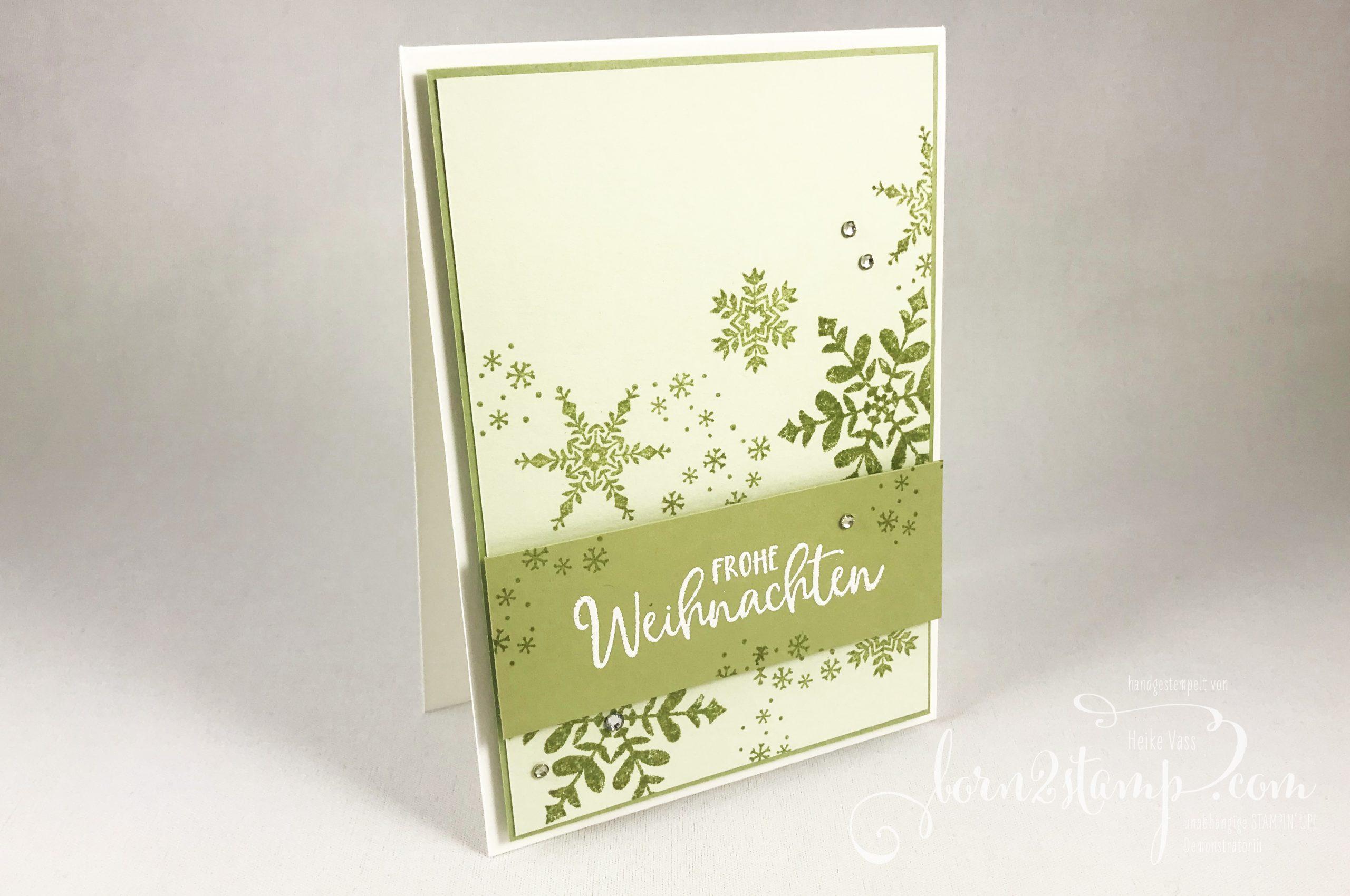 born2stamp INKSPIRE me STAMPIN UP Weihnachtskarte – Schneeflockenwuensche