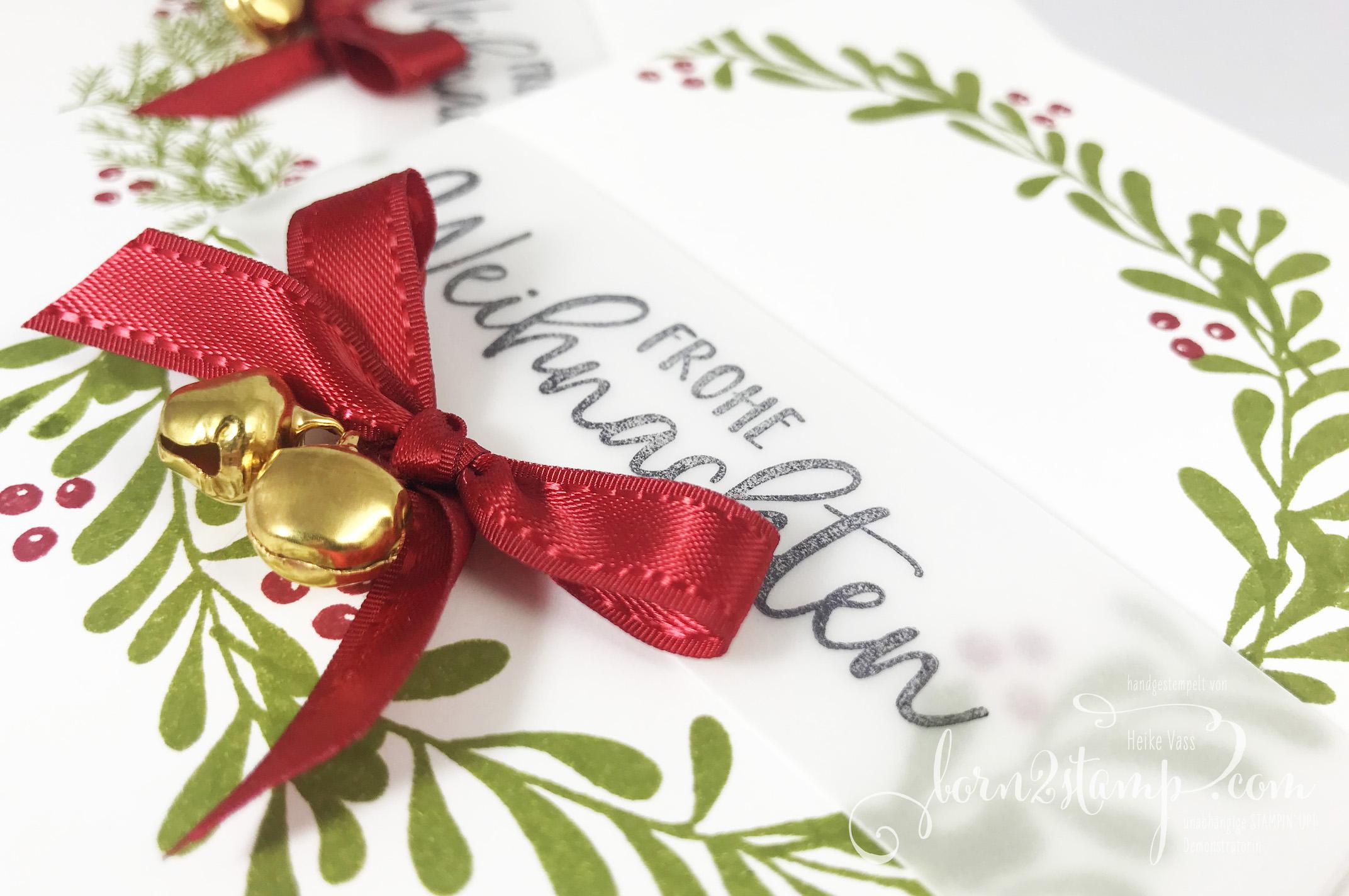 born2stamp Stampin' UP! INKSPIRE me Weihnachtskarte – Geschwungene Weihnachten – Paper Pumpkin – Feiertage voller Freude