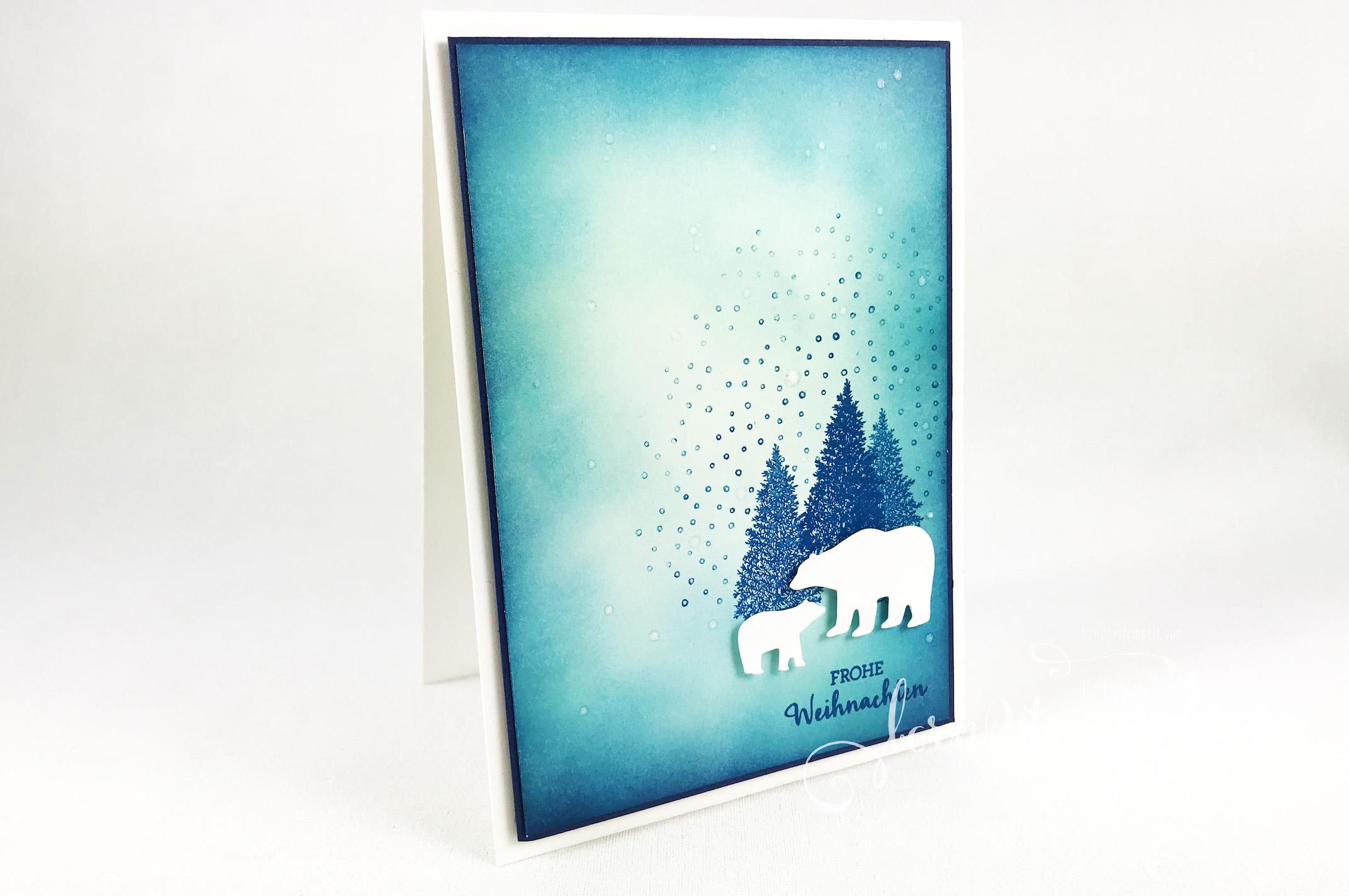 born2stamp Stampin up INKSPIRE me Weihnachtskarte – Blendin-Pinsel – Stanzformen Schneekugel – Wink of Stella – Merry Moose