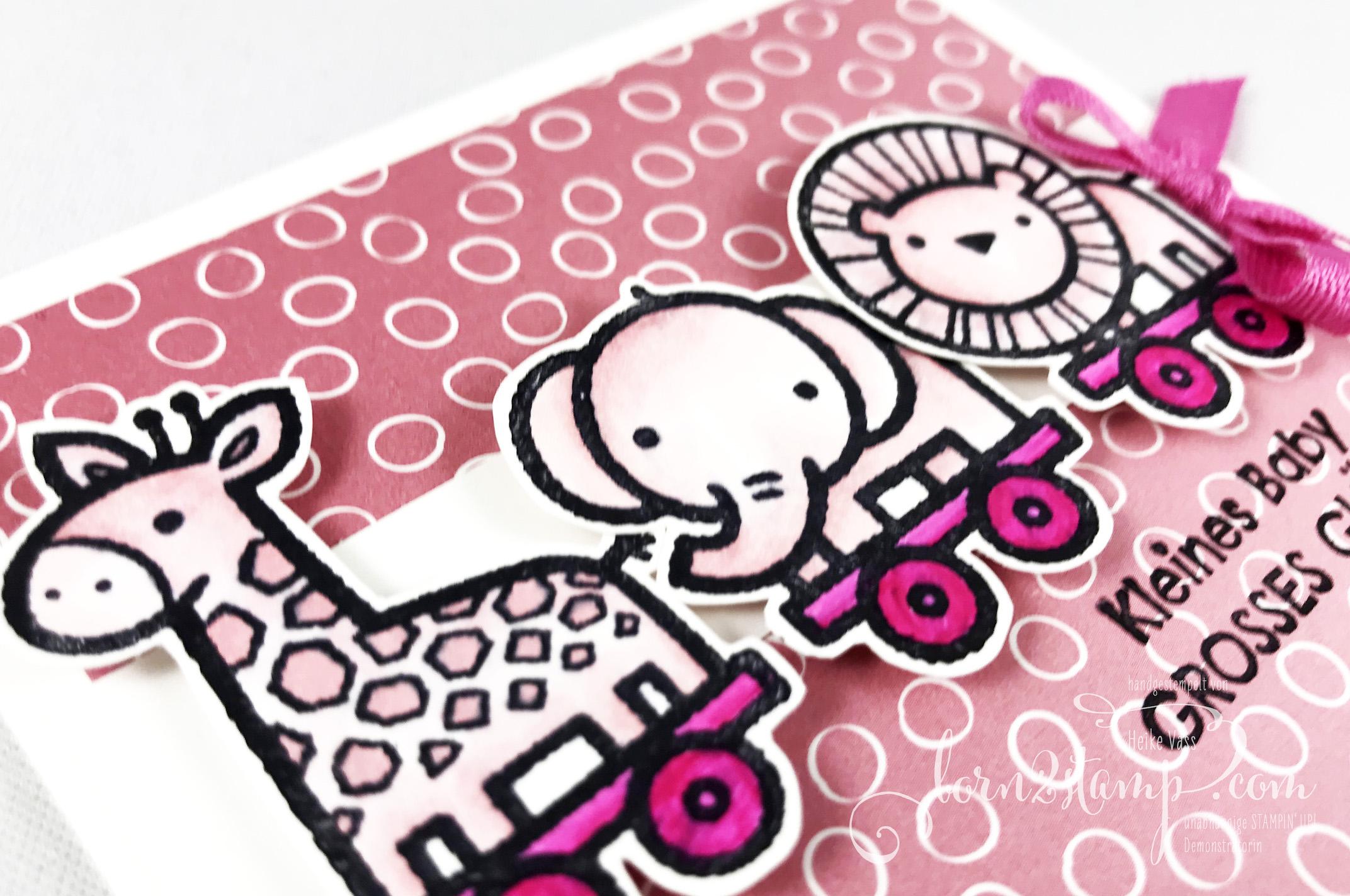 born2stamp STAMPIN UP INKSPIRE me Babykarte – Verspieltes zur Geburt – Geschenkband InColor